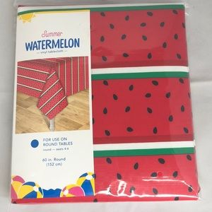 Summer Watermelon vinyl tablecloth red green white